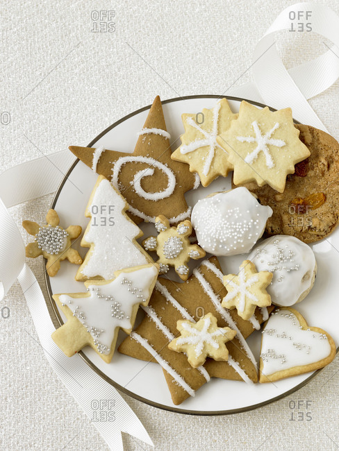 A plate of holiday cookies