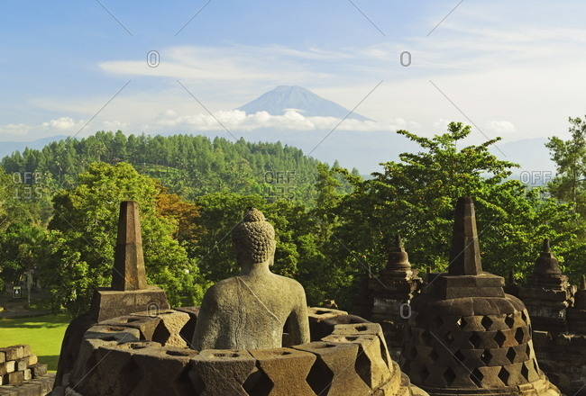 Borobudur with Mount Merapi in the distance