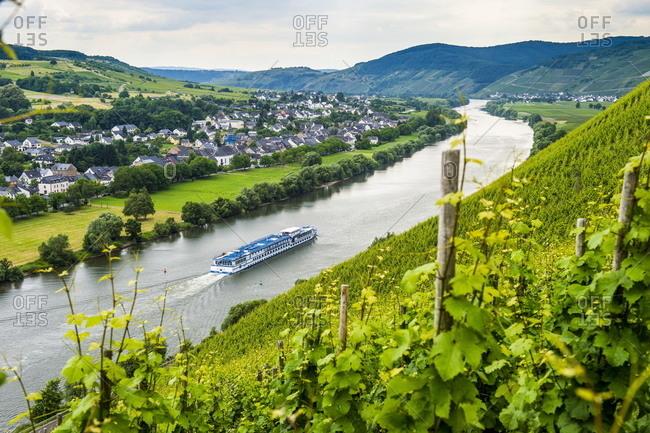 Cruise ship passing a vineyard at Muehlheim