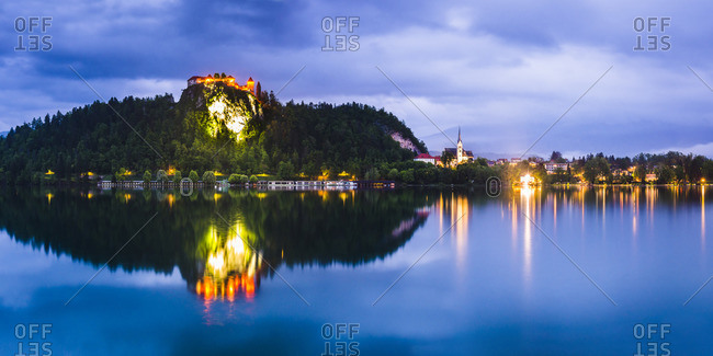 Light reflections in Lake Bled
