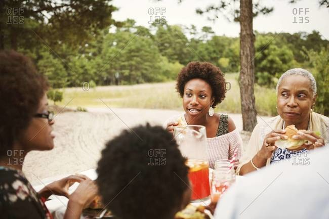 Women chatting at family picnic
