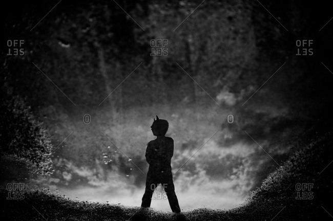 A little boy stands in the woods