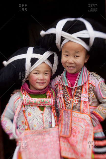 Sugao, China - January 30, 2012: Portrait of Long Horn Miao children