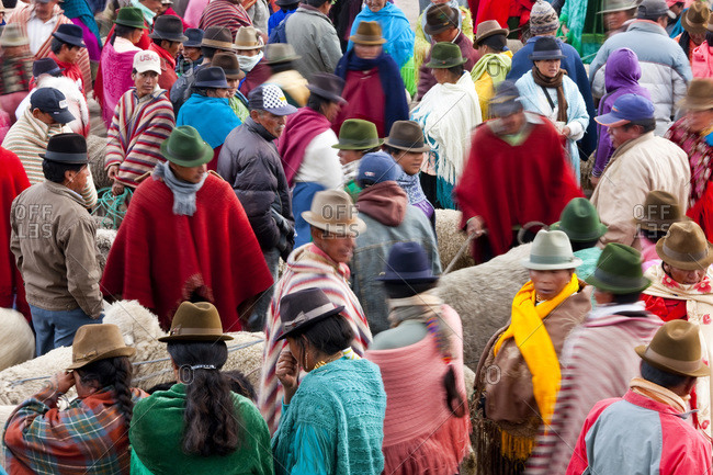 Zumbahua, Ecuador - January 16, 2010: Crowd in the Zumbahua animal market, Ecuador