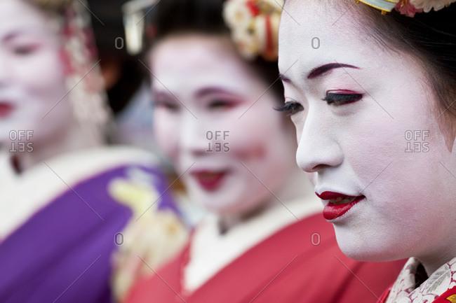 Kyoto, Japan - January 30, 2011: Profile of a Geisha