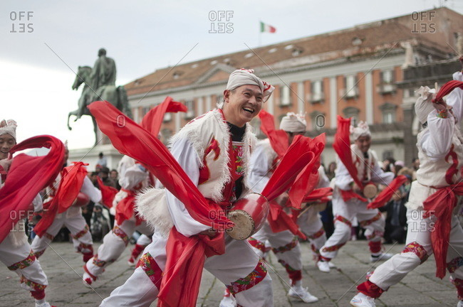 Naples, Italy -  February 3, 2011: People celebrating the start of the Chinese New Year