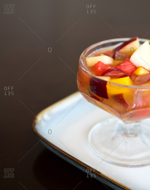 Fruit compote in dessert glass