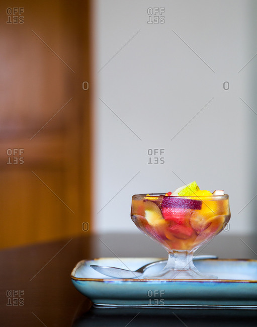 Fruit compote in dessert cup