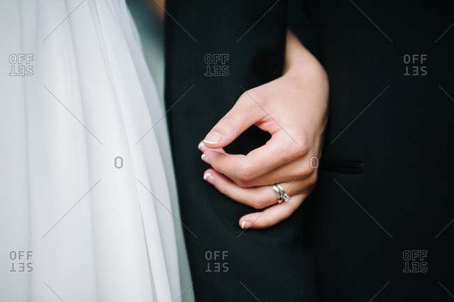 Close up of a hand of a bride