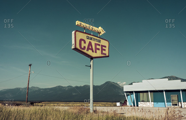 Cafe sign in rural Montana, USA