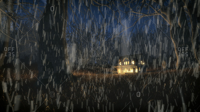 Winter forest in the rain at night with abandoned house