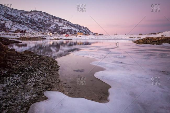 Frozen Fjord and Village Near Tromsø, Norway