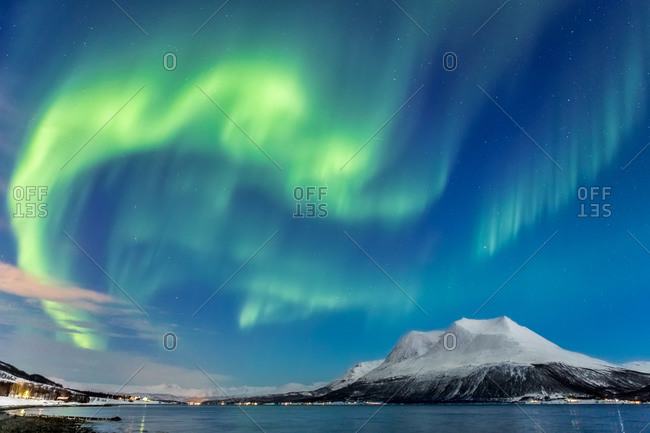 Northern Lights Over Village and Mountain, Norway