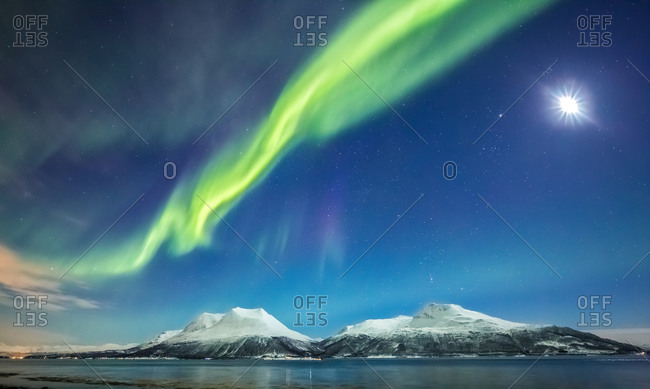 Northern Lights and Moon Over Mountains, Norway