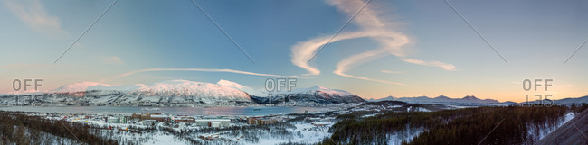 Panorama View of Tromsø from the Sky Jump Platform, Norway
