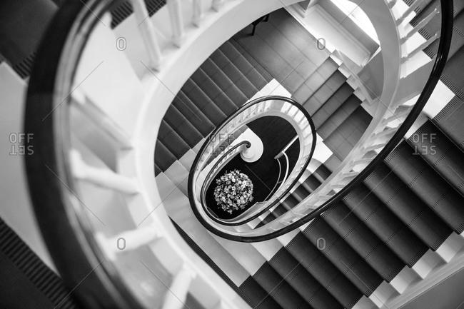 Winding Staircase Inside the David Collection in Copenhagen, Denmark