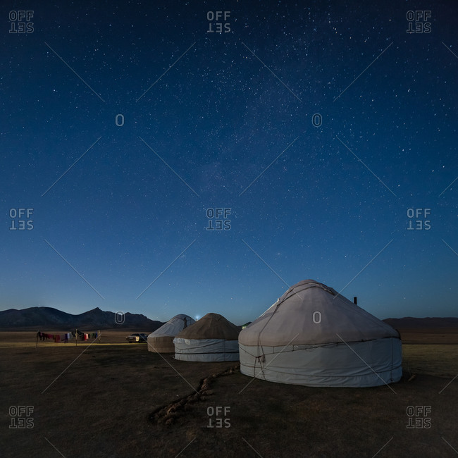 Yurts Under a Starry Sky in the Steppes of Central Asia