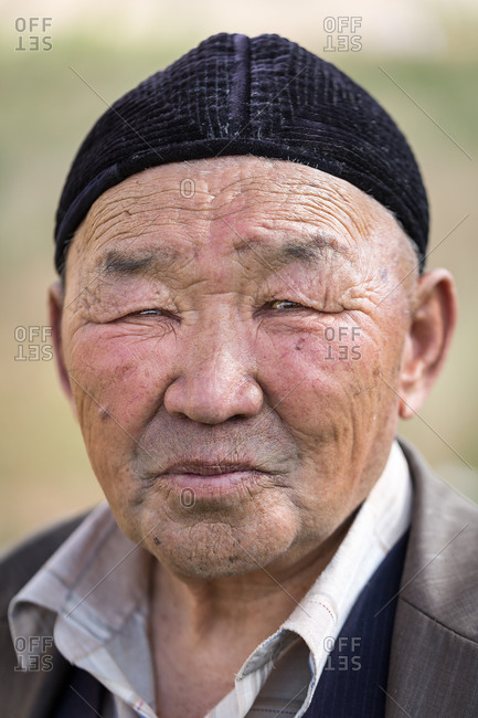 Kizil-Oi, Suusamyr Valley, Kyrgyzstan - August 23, 2014: Portrait of a Uzbek Man During a Nomadic Games Festival, Kyrgyzstan