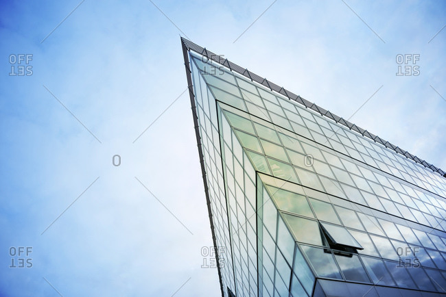 Duesseldorf, part of glass facade of modern office building