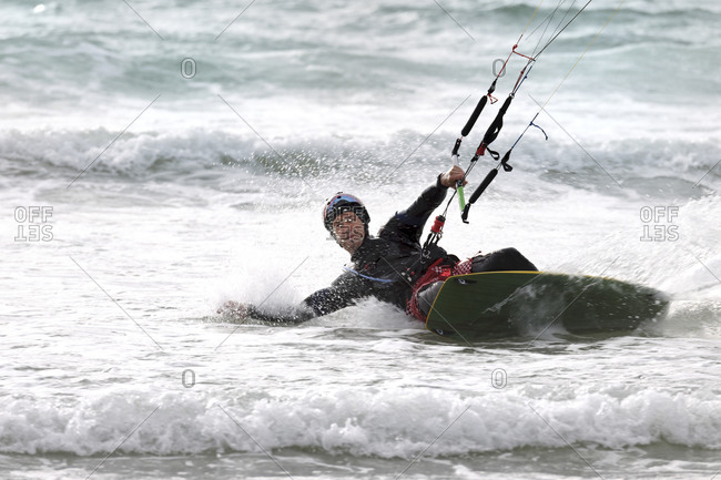 France, man kite surfing