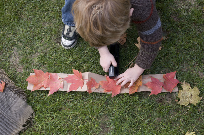 A boy makes a crown of leaves