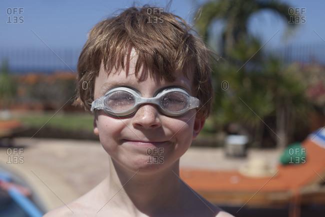 A boy in goggles