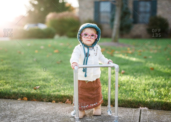 Cute toddler dressed like old lady