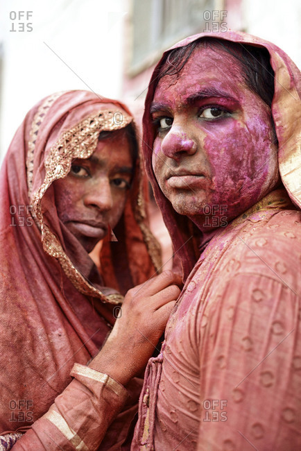 Nandgaon, Uttar Pradesh, India - March 10, 2014: Portrait of two hijras during the Holi festival