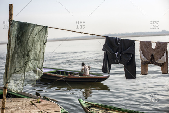 Laundry drying on a clothesline in Varanasi, India