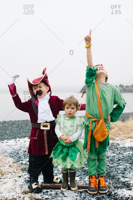 Portrait of children in costumes on a coast