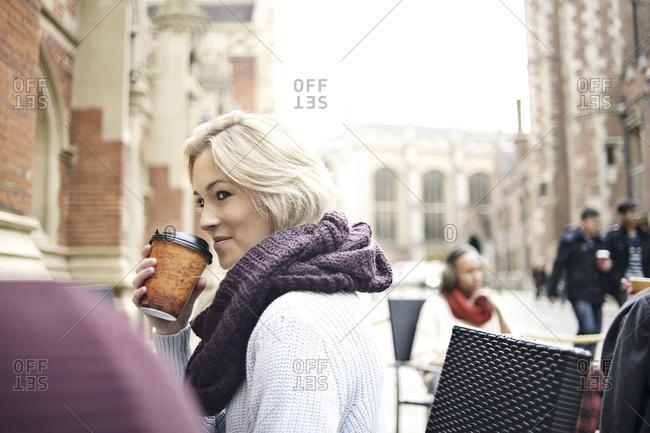 Woman and man at Cambridge cafe