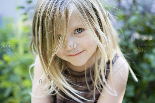 Portrait of a blonde little girl