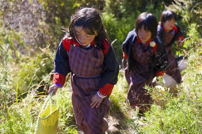 Bumthang, Bhutan - October 17, 2008: Schoolgirls on their way home