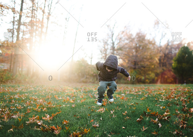 Boy jumping in yard in fall