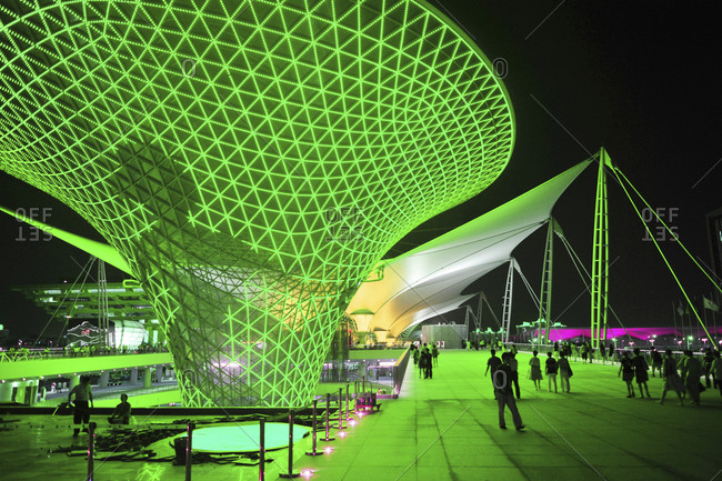 September 20, 2010: Night view of the Expo Axis in Shanghai, China