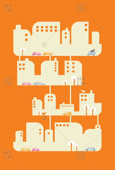 Buildings, animals, and traffic