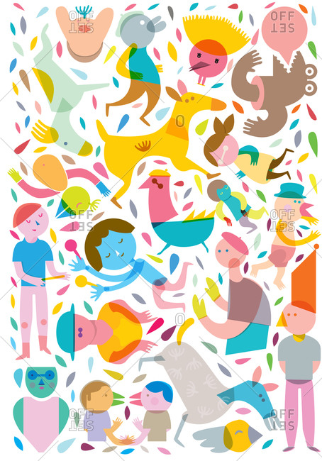 Animals and people form scattered about