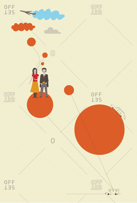 Couple standing on a balloon