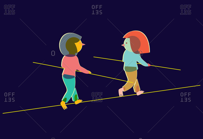 Two women on a tightrope
