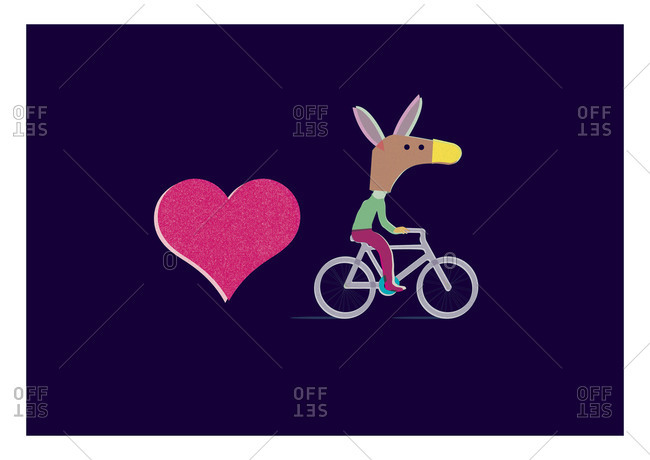 Heart and a donkey on a bike