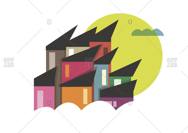 Houses with pointed roofs