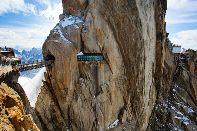 A walkway through a mountain peak in Chamonix