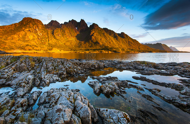 Rocks lead to the sea in Lofoten, Norway