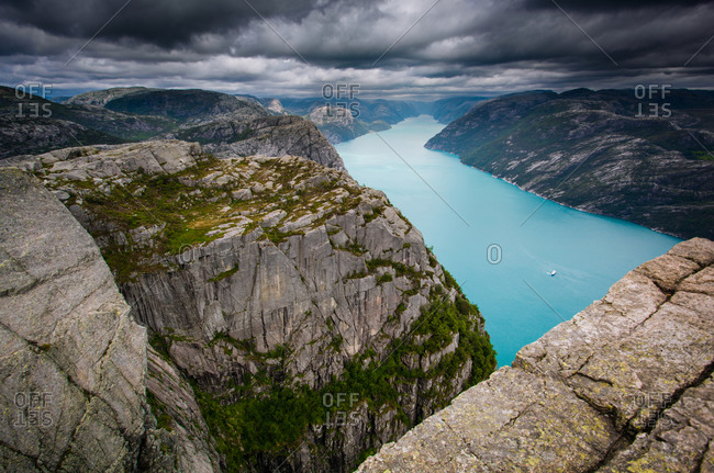 A fjord in Norwegian mountains