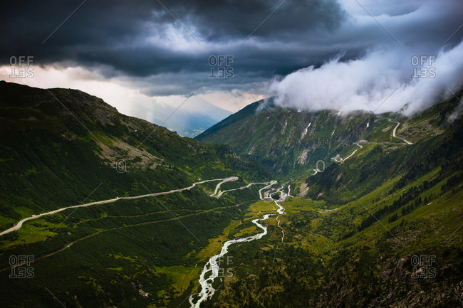 Roads down a valley in the Swiss Alps