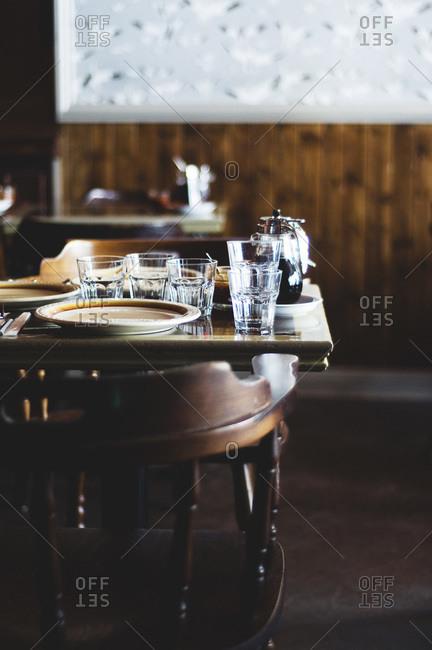 Table in an empty café