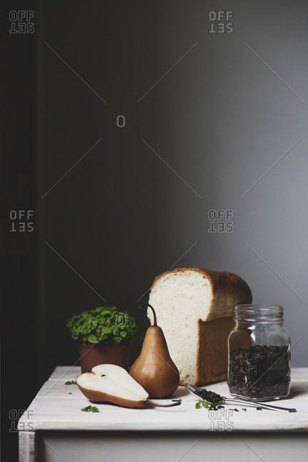 Ingredients to make a brioche breakfast