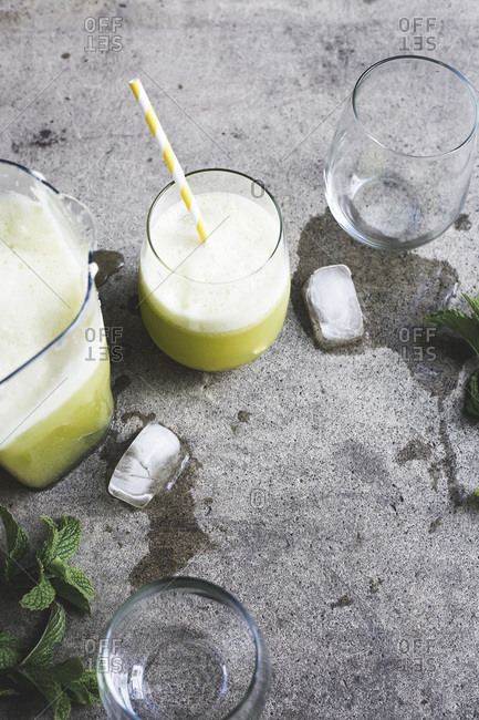 Fresh pineapple and mint juice