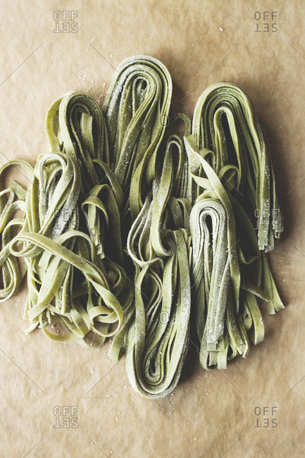 Close up of fresh spinach pasta