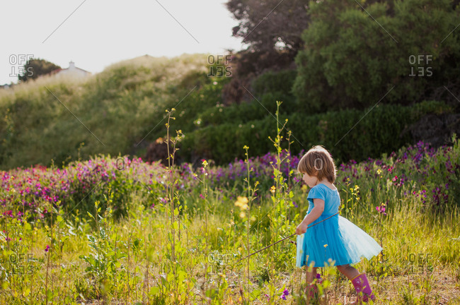 A little girl wanders through a field